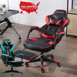 Beaufy Gaming Chair Racing Recliner Swivel Office Computer Desk Seat Footrest Us