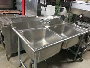 Sink 2 Bowl 58 X 32 X 36 h Commercial