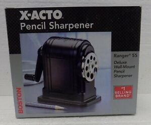 X acto Boston Ranger 55 Table wall mount Manual 8 Pencil Sharpener Black W box