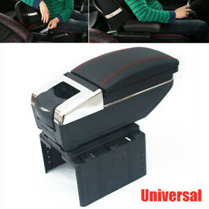 Universal Car Central Container Armrest Box Pu Leather Storage Case W cup Holder