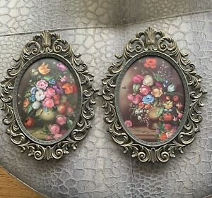 Vintage Italian Brass Frames Bubble Glass Pictures 2 Italy Art