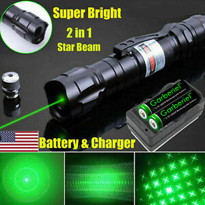 900 Miles 532nm Green Laser Pointer Star Beam Rechargeable Lazer battery charger
