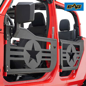 Eag Military Tubular Door Black With Mirror Pair Fit For 20 21 Jeep Gladiator Jt