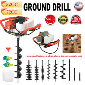 52cc 72cc Post Hole Digger Gas Powered Earth Auger Borer Fence Ground Drill Bits