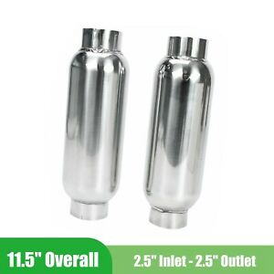 Pair Of Mufflers Exhaust 2 5 Inlet Outlet Resonator Stainless Steel Silencer