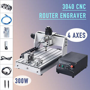 Preenex 3040 Cnc Router W Rotary Axis Attachment Wood Engraver Cutter Machine