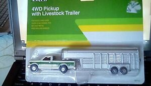 Ertl 4wd Pickup With Livestock Trailer Die Cast New In Box
