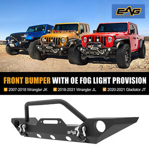 Eag Front Bumper Black With Winch Plate Fit For 2007 2018 Jeep Wrangler Jk