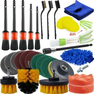 30pcs Car Detailing Brush Tools Kit Vehicle Auto Engine Wheel Washing Cleaning