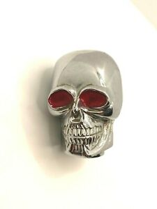 Vintage Rat Rod Chrome Skull With Red Eyes Gear Shift Knob