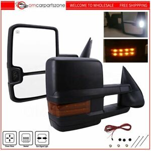 Power Heated Led Signals Tow Mirrors For 03 06 Chevy Silverado 1500 2500 3500 2x