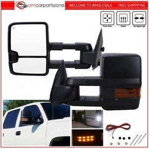Tow Mirrors For 03 07 Chevy Silverado Sierra Power Heated Signal Backup Amber Us