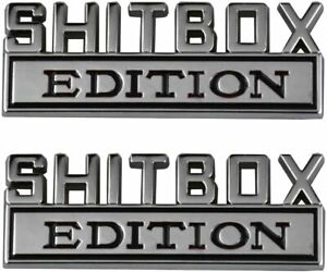 2x Shitbox Edition Emblem Decal Badges Stickers Fits For Chevy Car Truck