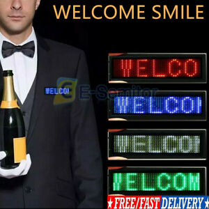 4pcs Led Digital Programmable Scrolling Name Message Tags Badge Sign Micro Usb