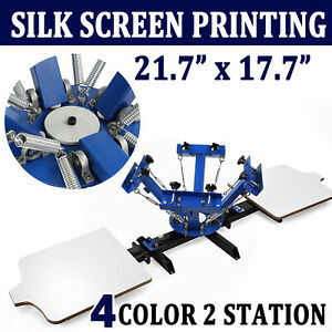 4 Color 2 Station Silk Screen Printing Equipment T shirt Press Machine Diy