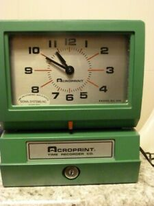 Acroprint Time Clock Works Some Time Cards Included