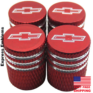 4x Chevy Chevrolet Tire Valve Stem Caps For Car Truck Universal Fitting Red
