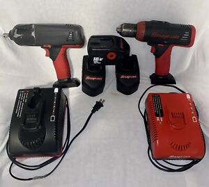 Snap on Tools Cordless 18v 1 2 Impact Wrench Power Drill Bundle