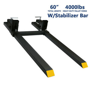 60 4000lbs Tractor Clamp On Pallet Forks Bucket Quick Attach W Stabilizer Bar