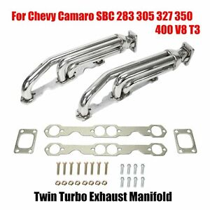 For Chevy Camaro Sbc 283 305 327 350 400 V8 T3 Twin Turbo Exhaust Manifold New