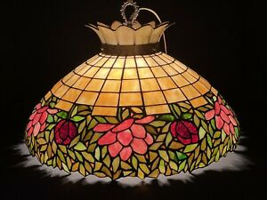 Large Antique Unique Art Glass Metal Leaded Glass Lamp Shade Hanging Fixture
