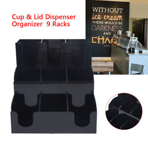 Black Acrylic Coffee Cup And Lid Holder Organizer Condiment Caddy Rack Stand