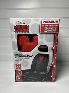 Disney Mickey Mouse 3 Pc Car Seat Cover With Cargo Pocket Minnie Mouse Authentic