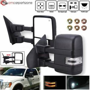 Pair For 2007 2014 Ford F150 Tow Mirrors Puddle Led Turn Signals Power Heated Us