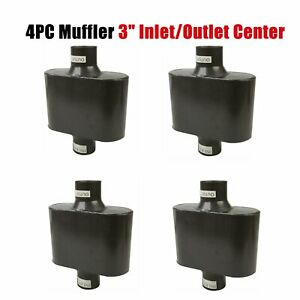 4pc 3 Center Inlet outlet Single Chamber Performance Race Universal Mufflers