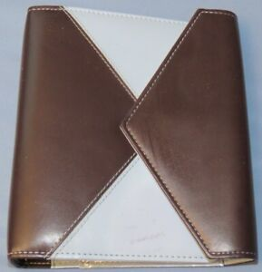 Franklin Covey Day One 1 6 ring 1 1 8 Brown Blue Snap Flap Open Planner