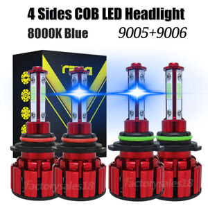 Combo 9005 9006 Ice blue 8000k Cob Led Headlight Kits Bulbs High Low Beam 4pcs