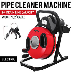 Drain Auger Cleaner Machine 1 2 X 50ft Long Electric Sewer Snake W 5 Cutters