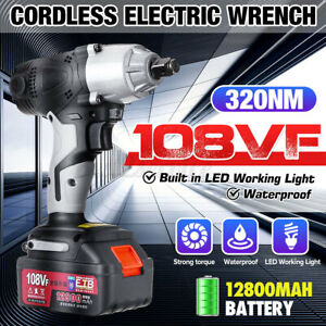 1 2 Led Cordless Electric Impact Wrench Rattle Nut Gun With 12800mah Battery