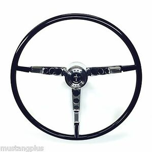 1966 Ford Mustang Complete Black Classic Steering Wheel Kit 3 Piece Kit New