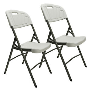 2pcs Commercial Plastic Folding Chairs Stackable Party Wedding Chair Outdoor