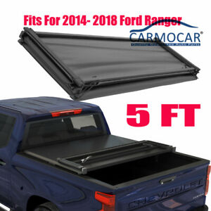 5 Ft Short Truck Bed Tonneau Cover Soft Tri Fold For 2014 2018 Ford Ranger