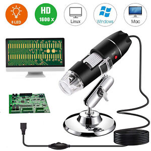 8led 1600x 10mp Usb Digital Microscope Endoscope Magnifier Camera W Stand