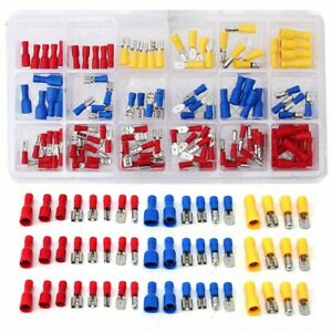 120pcs Insulated Assorted Electrical Wiring Connectors Crimp Terminals Set Kits