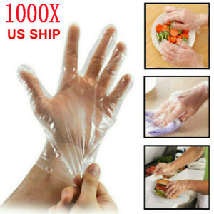 1000pcs Plastic Disposable Gloves Kitchen Cooking Cleaning Restaurant Service Us