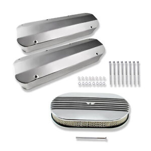 For Ford 429 460 Aluminum Valve Covers 15 Oval Half Finned Air Cleaner