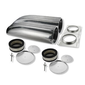 Retro Finned Polished Aluminum Double Barrel Shotgun Intake Air Scoop Kit Hotrod