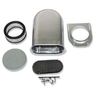 Smooth Polished Alu Hilborn Style Finned Hood Air Scoop Kit W Single 4 Bbl Carb
