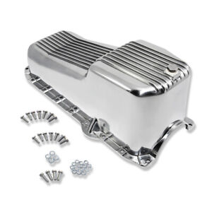 Retro Finned Polished Aluminum Oil Pan For 80 85 Small Block Chevy 305 350 5 7