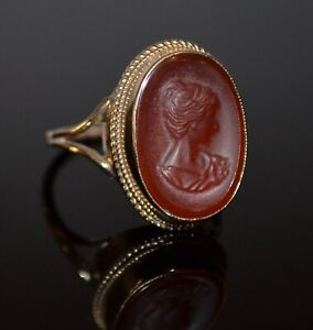 Antique Victorian Cameo 9ct Gold Ring Size R