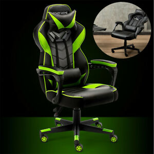 Recliner Gaming Chair Office Racing Pu Leather High Back Padded Flame Retardant
