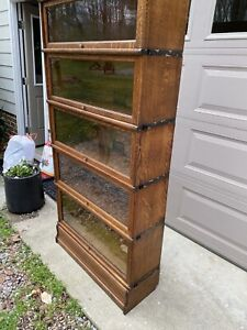 Globe Wernicke Barrister Bookcase 5 Sectional Oak Plus Top And Base