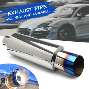 Car Stainless Steel 2 Inlet 3 Outlet Burnt Tip Exhaust Muffler Pipe Universal