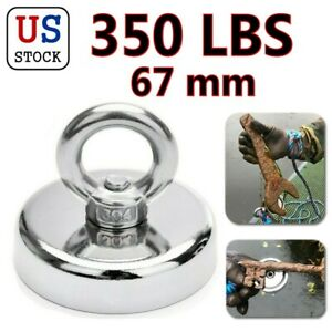 350lbs Fishing Magnet Neodymium Strong Pull Force Round Thick Eye Bolt 2 63 Inch