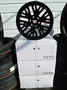 22 New Cadillac Escalade Factory Style Black Set Of 4 Wheels 5906 S h