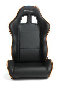 Cipher Auto Racing Seats black Leatherette W Orange Accent Piping Pair
